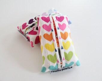 travel tissue case / tissue holder --  rainbow hearts