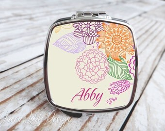 Bridesmaids Gift - Compact Mirror - Floral Bouquet