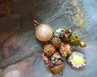 boho  summer - a mixed media boho gypsy pendant