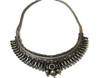 """Antique Sri Lankan Silver Necklace, 46cm (18""""), Sri Lanka Necklace, Antique Indian Necklace, High Grade Silver, RARE: 80Grams, Ethnic Tribal"""