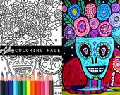 Mexican Folk art Day of the Dead cat coloring, coloring book, adult coloring book, coloring pages, adult coloring pages