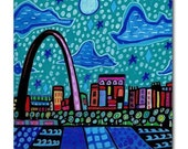 50% Off - St. Louis Skyline Art Tile Ceramic Coaster City Print of Painting by Heather Galler (HG900)