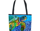 35% Off Today- Sea Turtle Bucket Tote Bag Folk Art By Heather Galler Animal Handbag Purse Women's Ocean Lovers Gift