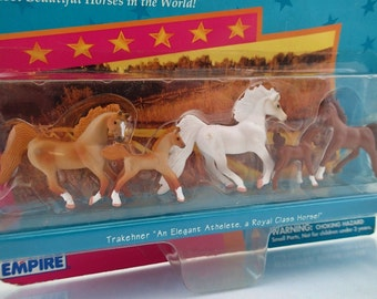 Vintage In Box Grand Champions Miniature Horses Horse Trakehner Micro Collection Pony 90s girly toy animal On Card MIB Nrfb