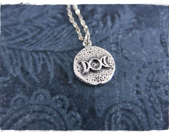 Silver Triple Moon Goddess Amulet Necklace - Sterling Silver Moon Goddess Amulet Charm on a Sterling Silver Cable Chain or Charm Only