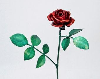 Tiny Red Copper Rose Metal Sculpture