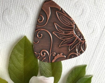 Embossed Guitar Pick SUNFLOWER Design, Hard Guitar Pick, Summer Birthday, 7th Wedding Anniversary, Thank You