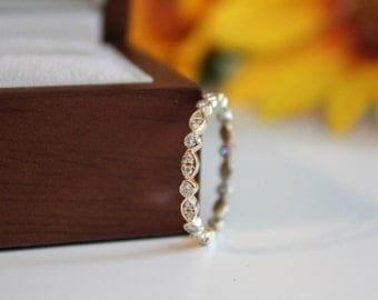 Diamond eternity band, 14K gold matching wedding band, yellow gold eternity diamond band