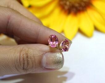 Pink Topaz stud earrings, gold stud earrings, oval stone earrings,