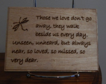Engraved dragonfly plaque
