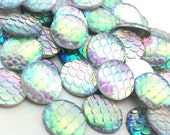 50pcs Mermaid Supplies - DIY Mermaid Costume - Rainbow Scale Cabochons - 12mm Wholesale Cabochons - Flat Back Glue On Round Shinny Circle