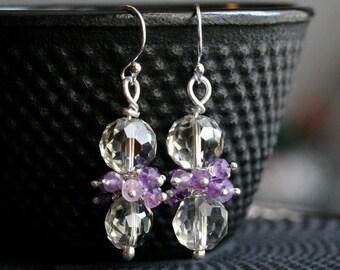 Purple cluster earrings, lavender amethyst, glass beads, sterling silver, dangle, beaded, grey, drop earrings, Mimi Michele Jewelry