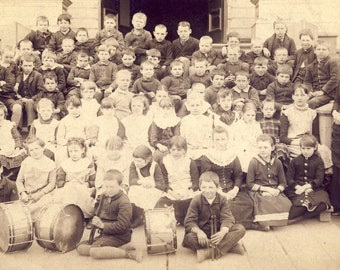 SCHOOL Children Featuring Boys With MARCHING DRUMS Cabinet Card Photo Circa 1900