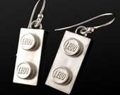 Lego Earrings in Sterling Silver