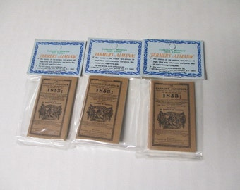 MINIATURE 1853 FARMERS ALMANAC lot of 3 Dollhouse Mini Books