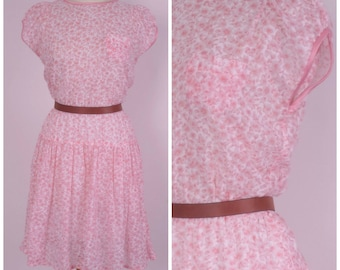 Romantic Puff Sleeve Pink Sheer Floral Dress 80s vintage Pretty in Pink Drop Waist midi summer dress Small