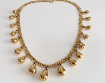Vintage Trifari Gold Drop Necklace Etruscan/Egyptian Revival