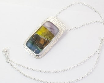 Glass Sunset Scenic Pendant, Dichroic Glass in Sterling Silver Handcrafted