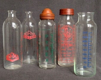 Stunning instant collection of 5 vintage retro glass baby bottles. Feeding bottle series from France. Nursery deco display. Baby shower gift