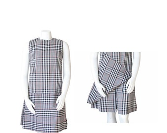 1960s JUMPER Dress XL • 60s Plaid Sheath Dress • Volup
