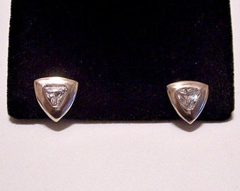 Triangle Cubic Zirconia Pierced Post Stud Earrings Sterling Silver Marked 925 Faceted Clear Rainbow Center Stone Wide Smooth Band