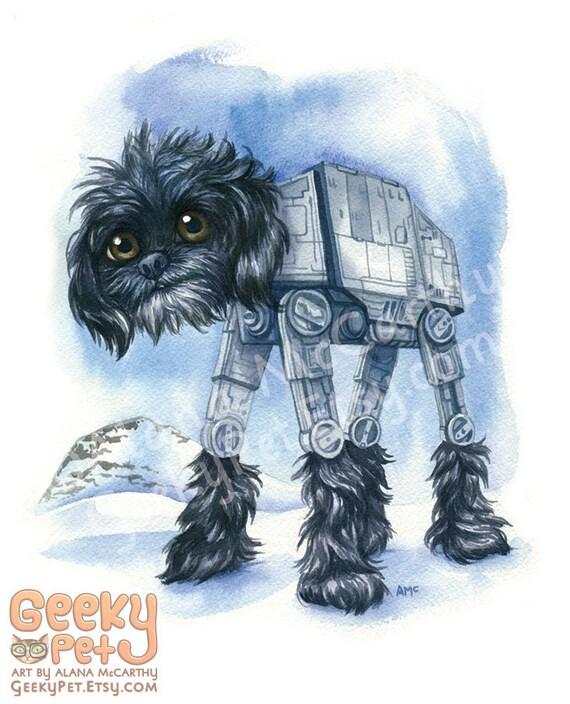 """AT-AT Walker Dog - Watercolor 8x10"""" print"""