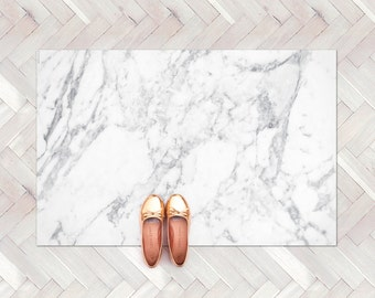 White Marble Rug / Marble Decor Kitchen Rug / Minimalist Modern Rug / Decorative Floor Rug | Kitchen Mat / Linoleum Rug / Elegant Carpet