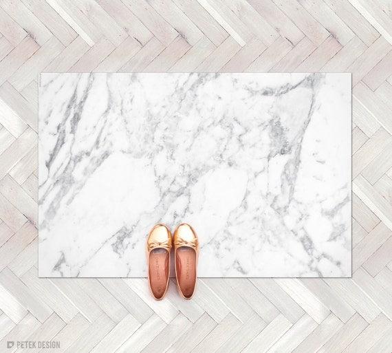 White Kitchen Rug white marble rug / marble decor kitchen rug / minimalist
