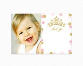 Pink and Gold Polka Dot Thank You Card