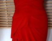 Red fitted long ity jersey  v neck drape dress