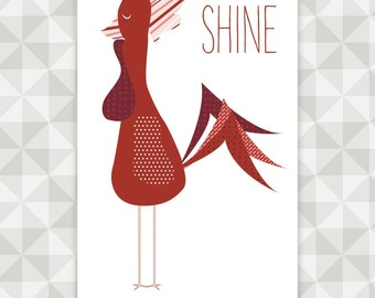 Instant Download- Wall Hanging Quilt Pattern. Rise and Shine Rooster Appliqué. Home Decor. Kitchen DIY.