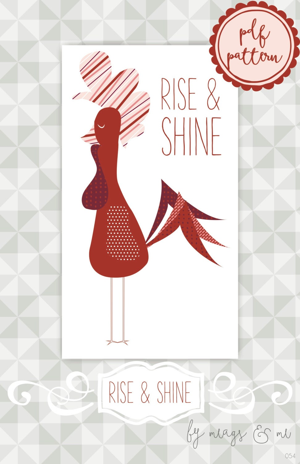 Instant Download Wall Hanging Quilt Pattern Rise And Shine Rooster Appliqu Home Decor