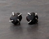Raw Black Lava Stud Earrings, Santorini Natural Lava Posts, Sterling Silver Studs, Black Jewelry, Volcanic Rock Earrings, Men/Women Earrings