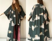 Vintage Japanese Abstract Pattern Hand Painted Kimono Robe Duster Jacket