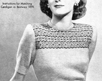 "Beautiful 1940s Jumper with Fair Isle Yoke 34"" Bust Bestway 1890 Vintage Knitting Pattern Download"