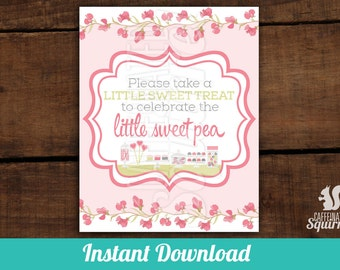 Little Sweet Treat to Celebrate a Little Sweet Pea Sign, Perfect for Baby Showers, Sweet Pea, Baby, Flowers, Mother to Be
