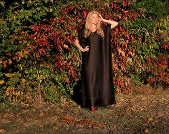 Silk & Cashmere Maxi Dress Kaftan Cafan Long Full Length Fringe Grecian Goddess Style One Size Fits All Choose color length pattern