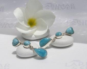 Larimarandsilver earrings, Summer Love 9 - deep blue Larimar drops and heart, sea blue, volcanic blue, AAA larimar, handmade Larimar earring