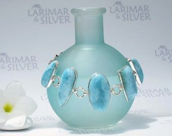 Larimar cuff bracelet by Larimarandsilver, Turquoise Feelings - aqua Larimar stones, turquoise bracelet, links handcrafted Larimar bracelet