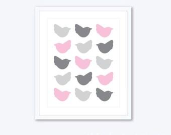 Birds Print - Birds Wall Art - Nursery Decor - Pink and Gray Birds Print - Birds Nursery Wall Art - 8x10 - Aldari Art