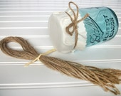 12 Natural Jute twine ribbons for mason canning jars, rustic wedding favors, shower favors, Christmas gifts, precut twine pieces
