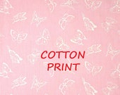Pink White Butterflies Print, 1990s Vintage, Quilting Cotton Fabric, Wamsutta, half yard, B18