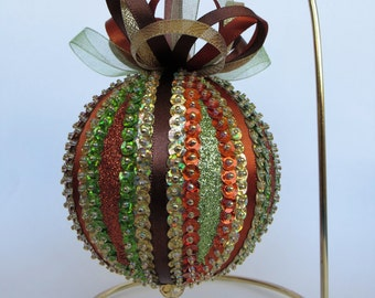 Fall Colors Sequin and Glitter Ornament