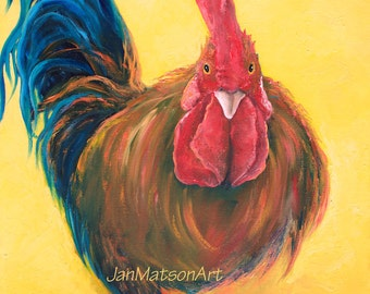 Rooster painting, Canvas Art, kitchen painting, rooster art, animal paintings, farm animal art, country kitchen art, kitchen art, Jan Matson