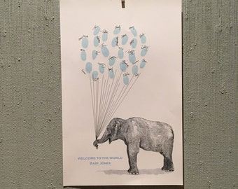 Large Elephant Thumbprint Balloon Print - Baby Shower or Birthday Party Guestbook