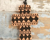 In Stock - Ceramic Cross Ornament Red Clay Two Sided Hand Painted