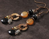 smoke and embers earrings: onyx, golden horn, laboradite, hammered bronze washers, copper, crystals