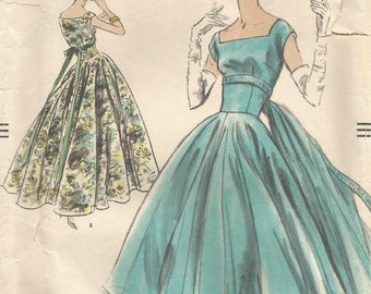 1950s Evening Dance Cocktail Dinner Dress Square Neck Princess Seams Optional Back Panel Vogue 8991 Bust 36 Women's Vintage Sewing Pattern