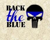 Punisher Skull back the blue police SVG cutting file