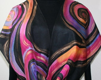 Black, Pink, Orange Hand Painted Silk Scarf LUNAR WINDS, in Several SIZES. Mother Gift, Bridesmaid Gift. Peinture sur Soie Foulard. Handmade